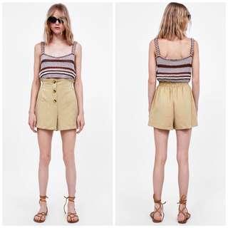 🚚 OshareGirl 06 歐美女士純色復古釦設計高腰鬆緊短褲