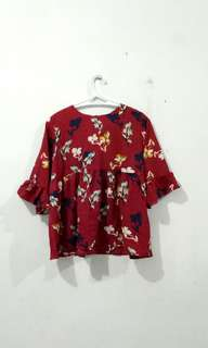 Red Floral Babydoll Blouse