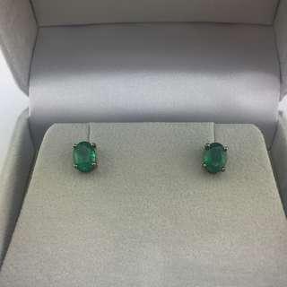 2卡36份綠寶 18K黑金耳環 18K black gold 2.36ct Emerald Earrings 可議價