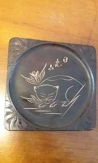 日光山幸福眠貓木刻盆cat woodcraft square plate