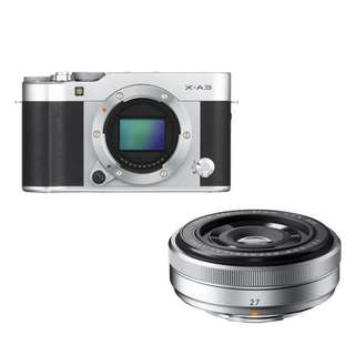 Fujifilm XA3 Body Only + XF 27mm F2.8 (silver)