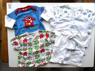 Preloved Mothercare baby top sleepwear bundle set of 5 - in very good condition