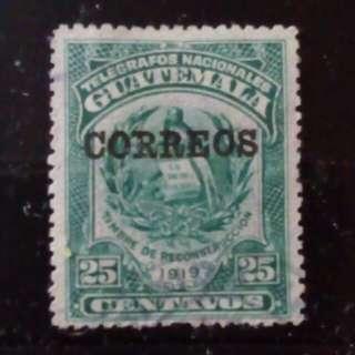 [lapyip1230] 危地馬拉 1921年 國徽 (電訊票改作郵票) 舊票 Set VFU