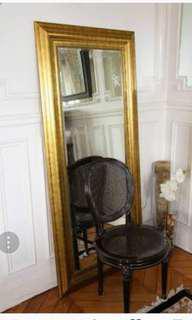 ikea levanger vintage gold wood frame mirror