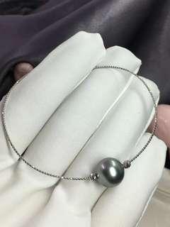 客定✈✈✈ 大溪地灰10-11mm珍珠手鏈 18k金進口配件 尾部可調節