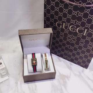 古馳 GUCCI高端品質  熱賣兩件套 手錶+鈦鋼手鐲