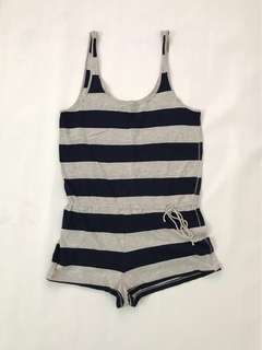 Forever 21 navy and grey stripes jumpsuits *Preloved*