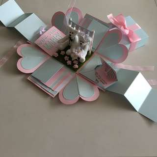 Proposal explosion box with wedding teddy , 8 waterfall, 2 pull tab in pastel pink & blue