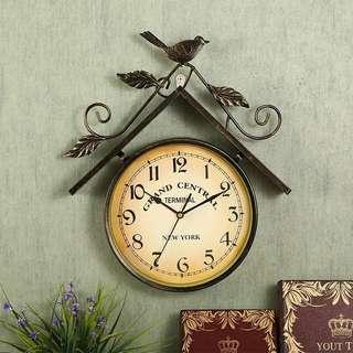 美式復古鐵藝小鳥型掛牆款立體掛鐘