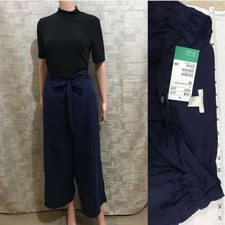 H&M navy wide leg pants