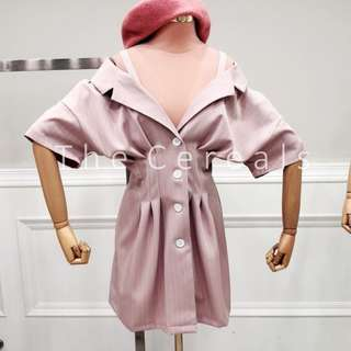 TC2445 Korea Stripped Giant Buttons Dress (Pink,White)