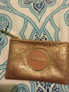 Mimco rose gold and pink small clutch