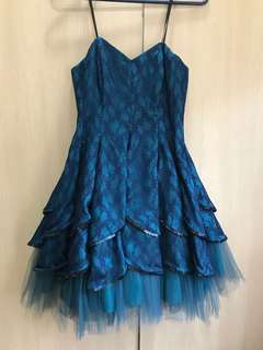 Turquoise lace blue party cocktail dinner formal dress