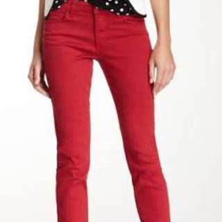 Red denim fit jeans