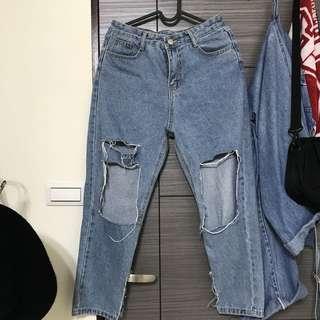 🚚 破洞牛仔褲 藍色 (L)