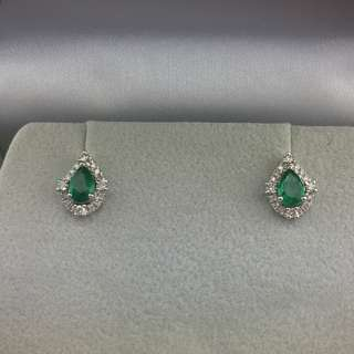 62份綠寶 28份鑽石 18K白金耳環 18K Withe gold 0.62ct Emerald 0.28ct Diamond Earrings 可議價