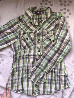 Next Jeans Green Checkered Flannel Polo