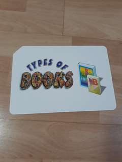 Type of books flash cards