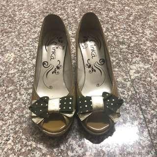 🚚 蝴蝶結楔型鞋