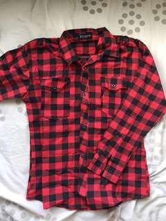 Red checkered flannel polo