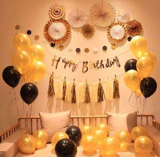 Black & Gold Party Set/Helium Balloons