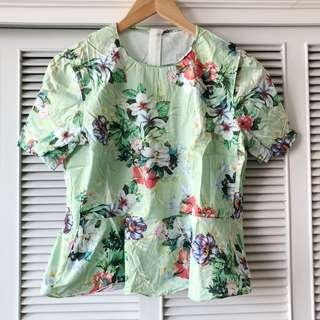 Zara Mint Floral Top
