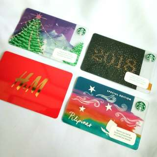 3 STARBUCKS GIFT CARDS AND H&M GIFT CARD (ALL-W/O LOAD)