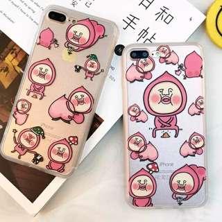 手機殼IPhone6/7/8/plus(沒有X) : 屁桃/醜比頭全包邊蠶絲紋軟殼