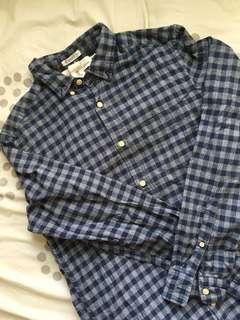 H&m blue checkered flannel polo
