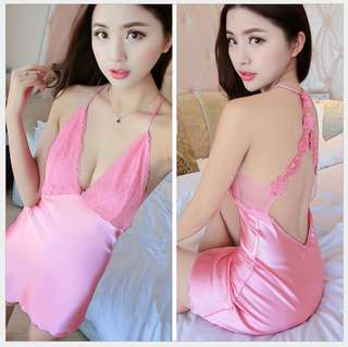 Satin Lingerie Sexy Back Nightdress With Gstring