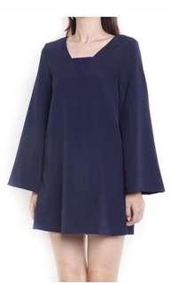 Bell sleeved navy dress