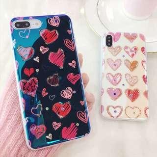 heart iphone 6/6p/7/7p/8/8p/X phone case