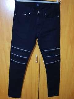 H&M Skinny Biker black Jeans size 30 to 31
