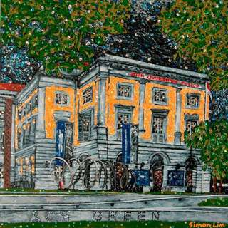 Iconic buildings of Singapore in acrylic and sequins on canvas (by Simon Lim)