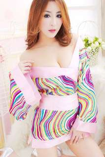 Kimono Japanese Style Robe Lingerie Purple & Pink