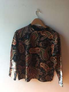 Paisley Printed Cropped High Neck Long Sleeved Sweater