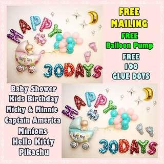 Baby Shower Balloons Decor / Kids Birthday Celebration Foil Balloons
