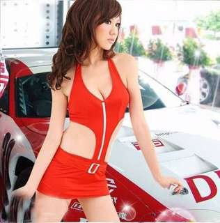 Car Race Model Sexy Costume Cosplay Uniform Red Lingerie