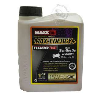 MAXXOIL MAX-ENERGY+ NANO PLUS SEMI SYNTHETIC 15W50 4 STROKE MOTORCYCLE OIL 1LITRE