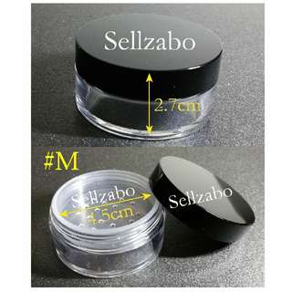 #M Case : Casings : Containers : Box : Loose : Powder : Face : Makeup : Cosmetics : Portable : Travel Use : Travelling : Refill : Refillable : Transfer : Clear : Transparent : See Through : Compact : Medium Size : Tools : Sellzabo