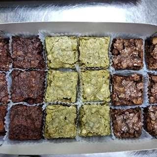 Oat Brownies in Dark, Regular and Matcha