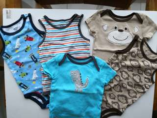 Preloved CARTER sleeveless onesies and baby tees - in excellent condition