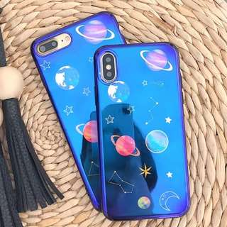 (W)手機殼IPhone6/7/8/plus/X : 宇宙星球藍光全包黑邊軟殼