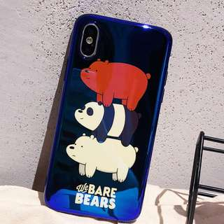 (W)手機殼IPhone6/7/8/plus/X : WeBareBears裸熊三兄弟藍光全包黑邊軟殼