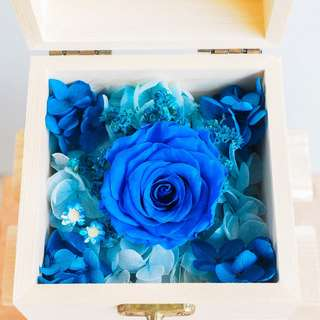 Blue Preserved Rose in Wooden Box