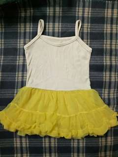 White And Yellow Tutu Dress Size 2-3Y