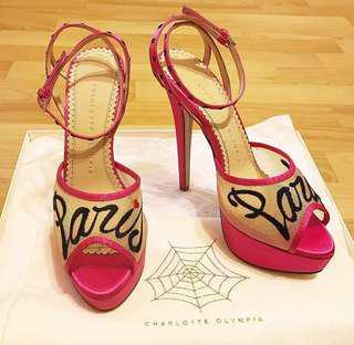🚚 【CHARLOTTE OLYMPIA】名品二手☆ 桃紅緞面網紗PARIS性感線涼鞋☆