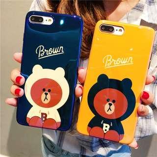(W)手機殼IPhone6/7/8/plus/X : Linefriends小熊藍光全包黑邊軟殼