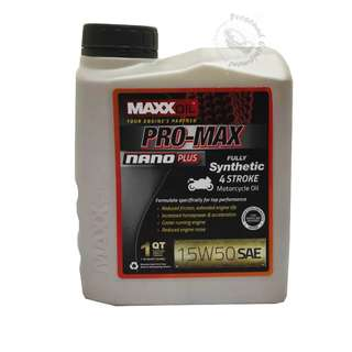 MAXXOIL PRO-MAX NANO PLUS FULLY SYNTHETIC 15W50 4 STROKE MOTORCYCLE OIL (1 LITRE)