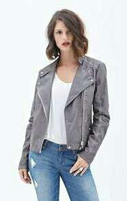 F21 Gray Leather Jacket